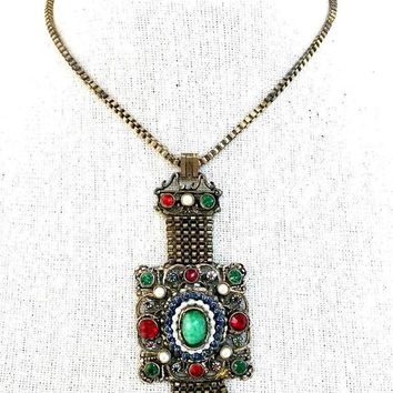 ReStored Unsigned Hollycraft Renaissance Revival 1946 Choker Pendant Necklace Fringe Antiqued Brass Metal Box Chain