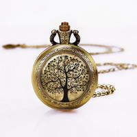 Tree of Life -Pocket Watch -Bronzen,Vintage Women Watch Necklace,Mother in Law Necklace
