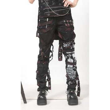 Cool Men Women Black Skull Emo Goth Punk Alternative Pants Trousers SKU-11404213