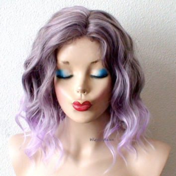 Pastel Lavender wig. Short  beach waves hairstyle wig. Lavender short curly hairstyle long side bangs wig. Light purple hair wig.
