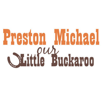 Kids Name Wall Decal With Cowboy Western Theme Little Buckaroo And Horseshoe For Baby Boy Nursery or Boys Room Wall Art 16H x 36W BN025