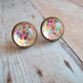 S K I T T L E S - Multi Colored Purple Orange Pink Green Antique Bronze Metallic Glitter Sparkle Photo Glass Cab Circle Post Stud Earrings