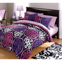 Walmart: your zone dotted damask bedding comforter set, purple