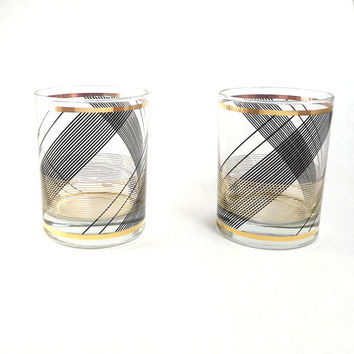 Black and Gold Tumblers, Clear Glass High Balls, Set of 2 Plaid Bar Glasses, Vintage Old Fashioned, 6 Available