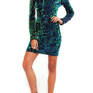 Sequin Long Sleeve Mini Dress