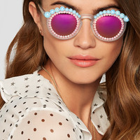 Freda Banana - Lulu embellished round-frame acetate mirrored sunglasses
