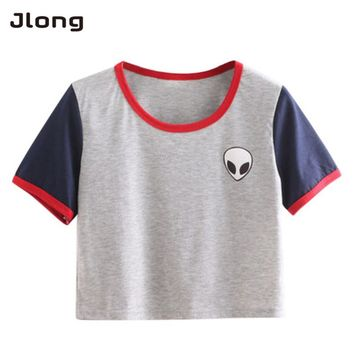 Women Short Sleeve Cotton T shirts Harajuku Cute Stripe Alien Embroidery T Shirt Crop Top Tee Hipster