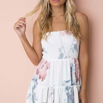Take Me With You White Floral Pattern Strapless Smocked Ruffle Empire Waist Casual Mini Dress