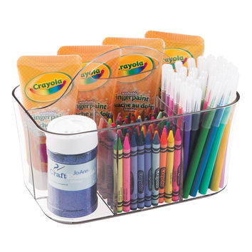 mDesign Art Supplies Crafts Crayons and Sewing Organizer Tote - Clear Small Caddy