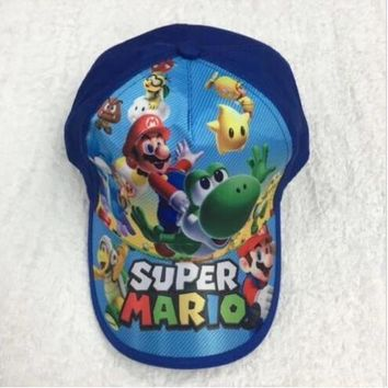 Trendy Winter Jacket 1pcs cartoon Super Mario Fashion Sun Hat Mario Casual Cosplay Baseball Cap children party gifts AT_92_12