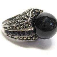 Black Onyx Sphere and Marcasite Ring Size 6