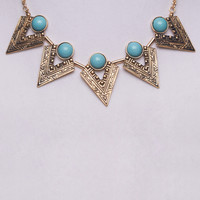Turquoise Gem Bib Necklace | Wet Seal