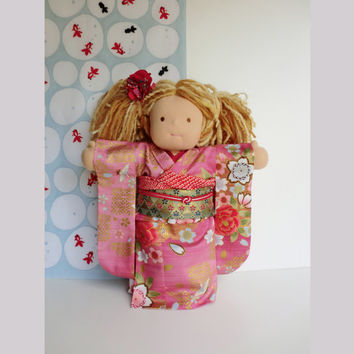 Japanese kimono for a Waldorf inspired dolls, handmade pink doll dress,  Japanese fabric kimono, japanese cotton doll yukata