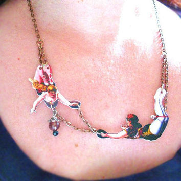 Acrobats in Love Circus Necklace  The smaller by whatanovelidea