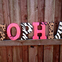 "9"" Cheetah, Hot pink, Zebra Wall hanging letters- Name letters- Room Decoration- Custom wall hanging- Wall letters"