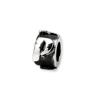 Sterling Silver Letter P, Alphabet Bead Charm