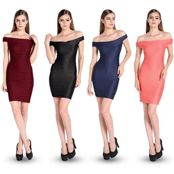Women Open shoulder Hip Dress Bodycon Elastic Package Slim Regular Party F_F (Color: Dark blue)