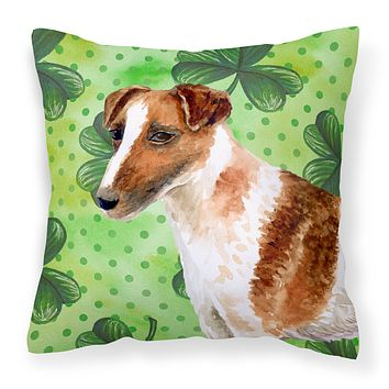 Smooth Fox Terrier St Patrick's Fabric Decorative Pillow BB9821PW1414