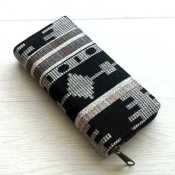 Zippered Wallet for women, Ethnic Tribal style, Folk Tapestry Wallet Clutch, Boho Travel Wallet, YKK Metal zip, Grey Geometric, Gift for her