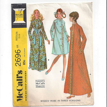 McCall's 2696 Pattern for Misses' Robe in 3 Versions, Size 12-14, From 1970, Vintage Pattern, Home Sewing Pattern, 1970 Fashion Sewing
