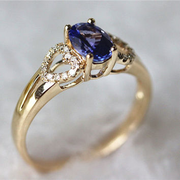 Vintage Halo Diamond Promise Ring 0.99ctw 6X8mm Tanzanite Engagement Ring Jewelry in 14K Yellow Gold
