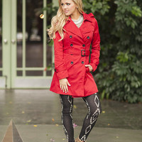 Lady in Red Belted Pea Coat