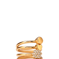 FOREVER 21 Stackable Geo Ring Set Gold/Clear