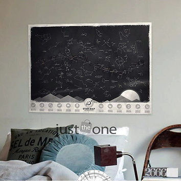Star Map Glow in Darkness Night Sky Constellations Zodiac Chart Poster Sticker hot