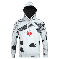 Hit Me! All Over Print Playing Cards Collage Black & White Hoodie