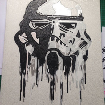 Star Wars Stormtrooper stencil art painting,canvas,science fiction,film,spray paint,Pop art,space,comics,chrome,silver,hand cut,hand drawn