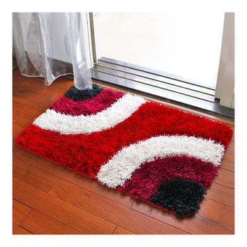 Irregular Color Door Ground Non-slip Mat Carpet   red irregular   60*90cm