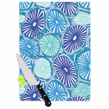 "Jacqueline Milton ""Sea Coral - Blue"" Blue Aqua Cutting Board"