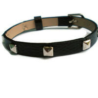 Leather Bracelet With Studs - Silve.. on Luulla