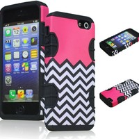 Bastex Hybrid Case for Apple Iphone 5 - Black Silicone with Hard Light Pink & White Chevron Pattern