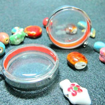 40mm Extra Large Circle Shape Pendant Cases,Set of 5,Reliquaries, Shadow Box Pendants, Clear Locket, Necklace Containers, Terrarium Necklace