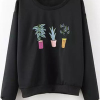 Embroidered Sweatshirt in Black or Green