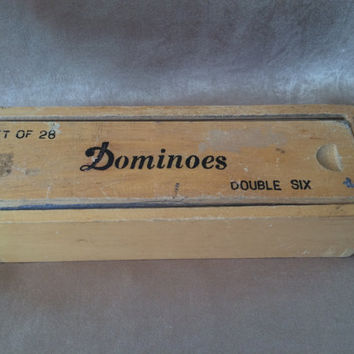 Vintage Dominoes, Double Six, Set of 28 Dominoes, Brass Spinners, Tile Games, Wood Box Dominoes, Toys and Games, Dice and Tile,