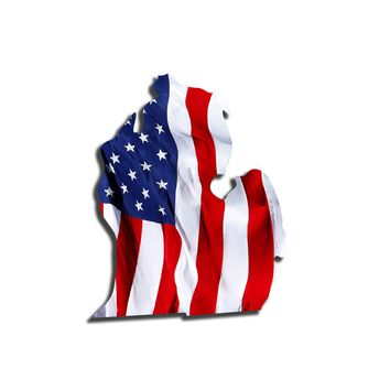 Michigan Waving USA American Flag. Patriotic Vinyl Sticker