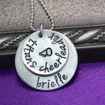 Personalized Cheer Necklace Hand Stamped Cheer by thirtyoneshekels