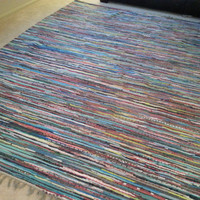 8 x 10 Rag Rug, Chindi Cotton Rugs, Scandinavian Large Area Rug, Colorful Floor Covering, Hand Woven Loom Rug, Boho Chic Hippie Decor, Vegan