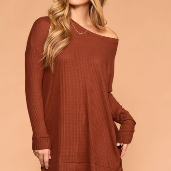 Maria Rust Waffle Knit Round Neck Sweater Top
