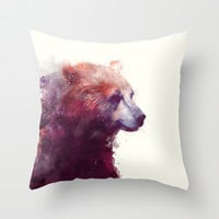 Bear // Calm Throw Pillow by Amy Hamilton