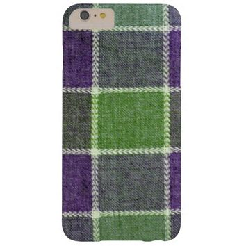 Green and Purple Plaid Wool Fabric Texture Barely There iPhone 6 Plus Case
