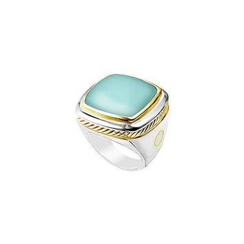 Aqua Chalcedony Rope Ring : 14K Two Tone (White & Yellow) Gold - 10.00 CT TGW