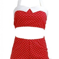 Red Polka Dot Retro White Trim Pin up Women's Swimsuit Swimwear Bikini - Small
