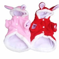 New Dog Cloths Fashion Cute Rabbit Plush Dog Apparel Pet Hoodie Costume Clothes Dog Coat Pet Products Free Shipping