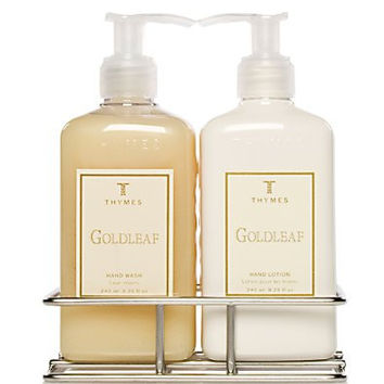 Thymes Hand Wash and Lotion with Chrome Caddy Sink Set, Goldleaf