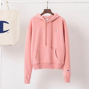 Champion Women Fashion Velvet Embroidery Hoodie Top Sweater