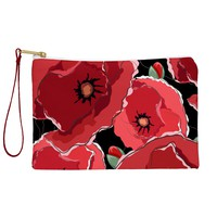 Belle13 Red Poppies On Black Pouch