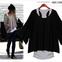 Loose Casual Short Sleeve T-Shirts Batwing Sleeve Top ( Tank + T shirt) two pieces set